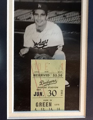 SANDY KOUFAX CLOSEUP-OF-AUTHOGRAPHED--TICKET STUB AND PICTURE